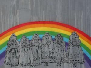 Ein Wandbild gemalt von Dariusz, Straßenkünstler und Menschenrechtsverteidiger. Das Gemälde wurde mehrmals zerstört. © Dariusz Paczkow