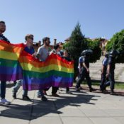 June 6 2015 Kiev Ukraine Participants of Kyiv Equality March 2015 walk by the city with rainbo
